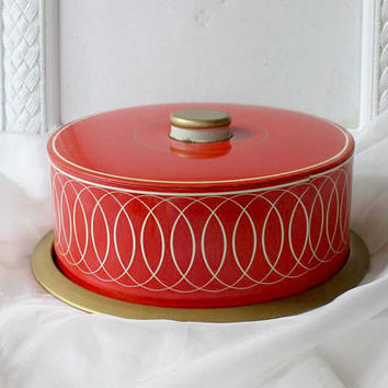 Retro 50's Metal Cake Taker , Vintage Cake Carrier Red White Gold Painted Tin Small Cakes , Collectible Cake Tin for Display , Retro Kitchen