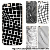 New Transparent Phone Protective Cases Black And White Lattice Distortions For Iphone 5 5s 6 6s 6 Plus Case TPU Soft Cover