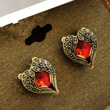 ER177 Hot Fashion Vintage Retro Angel Wings Peach Heart Semi-precious Stones Red Crystal Stud Earrings For Women Jewelry Gift