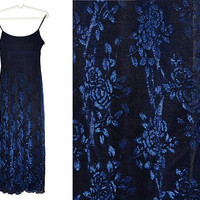 Blue Maxi Dress Metallic Floral Blue Rose Shiny Evening Gown Formal Long Prom Medium M