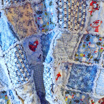 Blue Snowmen Rag Quilt , Large Lap Quilt, Blue, White, and Red, Snowflakes, Snowmen, Christmas, Winter