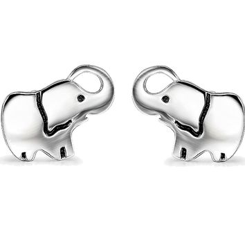 Studs Jewelry 925 Sterling Silver Lucky Minin Elephant Stud Earrings for Women Girls