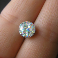 "Sparkly Aurora Borealis Austrian Crystal Paved Ferido Dome 8mm Tongue Barbell Ring 14G 5/8"" Piercing Body Jewelry"