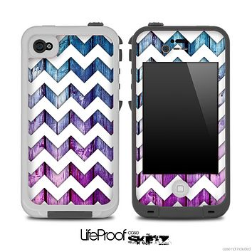 Pink And Blue Wood with White Chevron Pattern for the iPhone 5 or 4/4s LifeProof Case