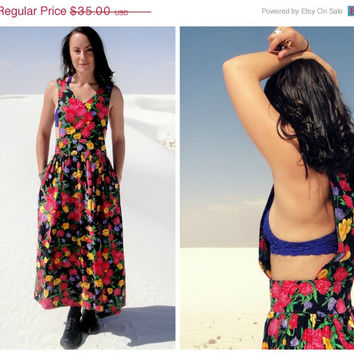 20% OFF SALE Vintage Floral Bib Maxi Sundress. Open Sides Jumper. Button Up Back. Black Pink Purple. Free People Style. Boho. Medium Large