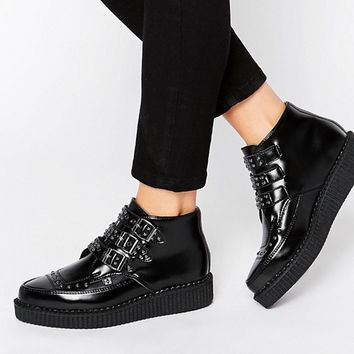 T.U.K. Stud Point Creeper Leather Flat Ankle Boots at asos.com
