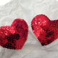 Red Sequin Burlesque Pasties - heart shaped nipple covers