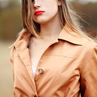 Women's Medium Trench Coat - Vintage 1960's Mod Retro Jacket - Rich Caramel - Button Down - Pockets Rain Coat