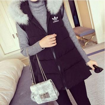 ONETOW Adidas' Women Fashion Hooded Zip Cardigan Sleeveless Down Vest Jacket Coat