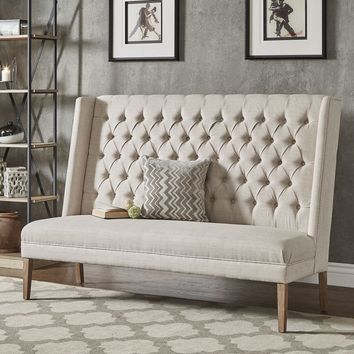 Back Tufted Linen Upholstered Bench by iNSPIRE Q Artisan - Grey Linen