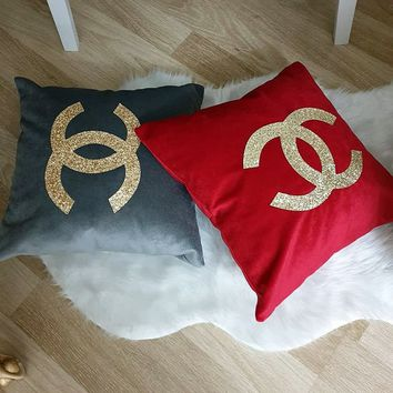 Set Of 2 Gray & Red Pillow Covers, Gold Sequin Monograms Decorative Pillowcases, Cushion Cover Home Decor Living Gift For Her