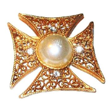 "Maltese Cross Pin Brooch White Pearl & Clear Rhinestones Gold Filigree 2"" Vintage"