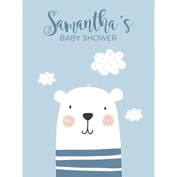 Custom Baby Shower Polar Bear with Clouds Backdrop (Any Color) Background - C0262
