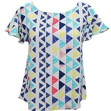 Mogul Interior Aurora Womens Blouse Triangles Print Blue Casual Comfy Summer Bohemian Sexy Top