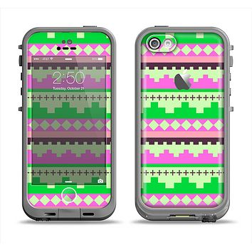 The Lime Green & Pink Tribal Ethic Geometric Pattern Apple iPhone 5c LifeProof Fre Case Skin Set