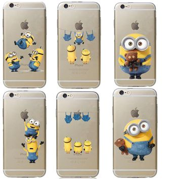 Cartoon Cute Despicable Yellow Minions Hard Phone Case Coque Fun