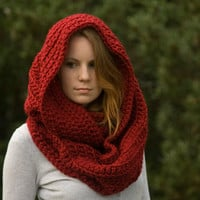 PATTERN Oversized Hooded Infinity Scarf Cowl, Crochet