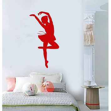 Vinyl Wall Decal Silhouette Of Ballet Dancer Pointe Shoes Stickers Unique Gift (1584ig)