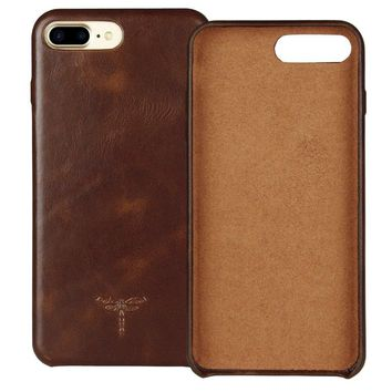 iPhone 7 Plus Case iPhone 8 Plus Case FRIFUN Genuine Leather Hard Back Case Thin Fit Snap Case Excellent Grip for Apple iPhone 7 Plus / 8 Plus 5.5 inch (Dark Brown)