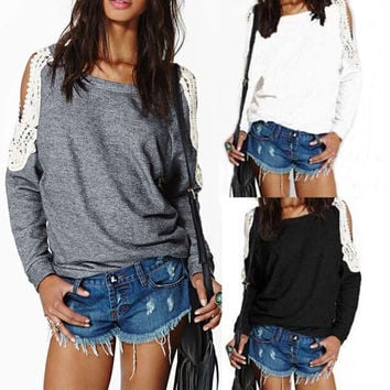 Women Lace Hoodies Strapless Tops  3 Colors(Grey White Black) S-XXL = 1932223812