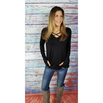 Black Criss Cross Front Thumbhole Sweater