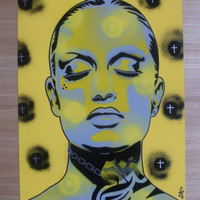Tattooed woman painting,skin deep series,stencils art,spray paint,street art,chain,gangster,urban,tattoo,crosses,eyes,lips,graffiti,wall art