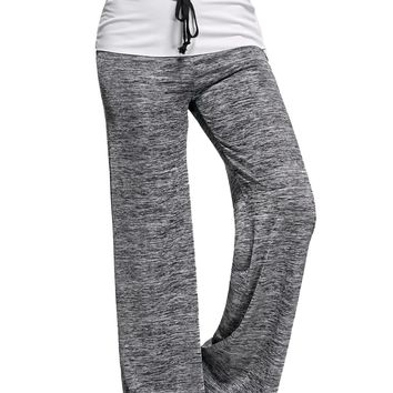 Contrast Yoga Pants with Strings Waist