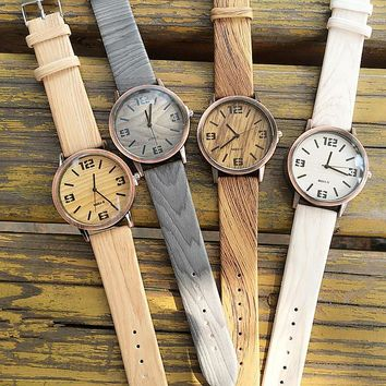Fashion Vintage wood simple watch men and women watches digital face student lovers quartz watch casual PU leather clock relogio
