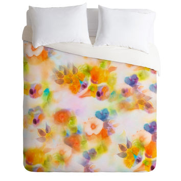 Marta Spendowska Watercolor Vintage Peonies Duvet Cover