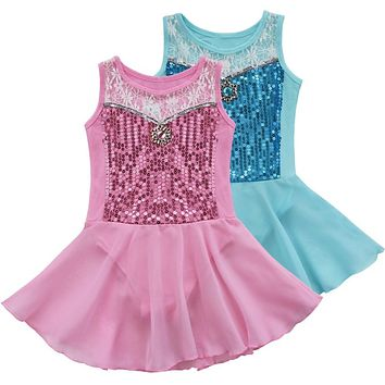 iEFiEL Kids Girls Sequined Diamond Princess Tutu Ballet Dance Exercise Performance Leotard Dress Fancy Party Costume 3-10Y