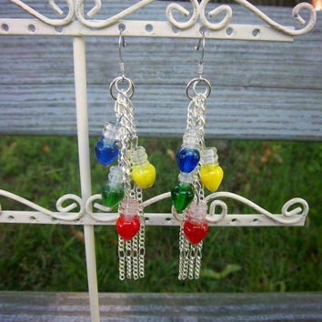 Christmas Light Bulb Lampwork Glass Silver Chain Earrings