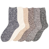 Women's 6 Pack Wool Fashion Warm Thick Thermal Cushion Crew Quarter Winter Socks