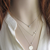 Side Cross Necklace Layering Necklace Cross Jewelry Silver Cross Simple Cross Plain Modern Cross Layered Necklaces