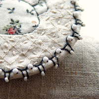 Embroidered Brooch, Textile Jewelry, ECO FRIENDLY, white linen brooch