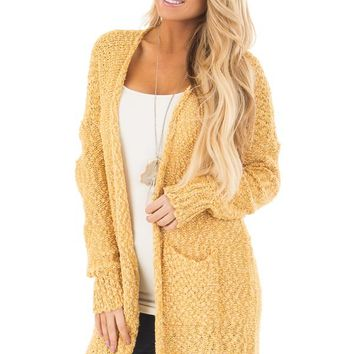 Mustard Long Sleeve Open Cardigan with Front Pockets