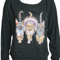 """Three Native Kitty Cats Pullover Slouchy """"Sweatshirt""""  Top American Apparel Black S, M, or L"""