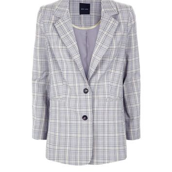 Light Grey Check Blazer | New Look