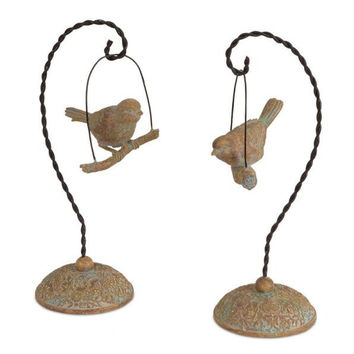 2 Finch Figures - Each Bird Has A Stand
