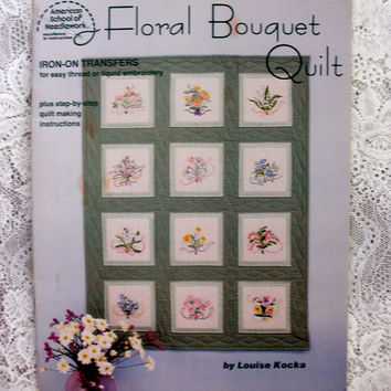 Vintage Floral Bouquet Quilt Iron-On Transfer Pattern for Embroidery or Fabric Painting