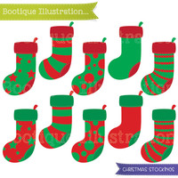 Christmas Stockings Clipart Set. 10 Christmas Stockings Clipart Digital Vectors in Red and Green. Commercial Use* Jpeg, Png, Eps Digitals.