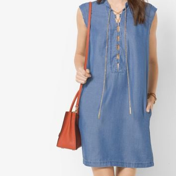 Chambray Lace-Up Shift Dress | Michael Kors