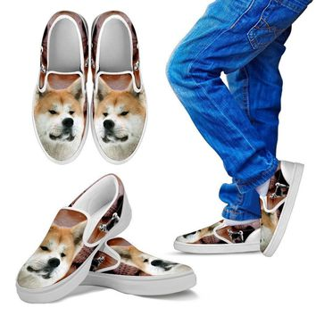 Akita Dog Print Slip Ons For Kids- Express Shipping