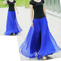 Royal Blue Chiffon Maxi Skirt Long Sundress maternity Wear Holiday Maxi Dress Skirt Beach Skirt  honeymoon skirt