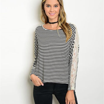 + Stripes and Lace Top in Black/Ivory