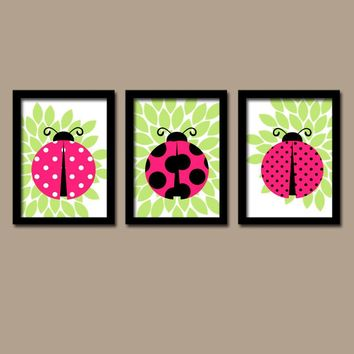 Ladybug Wall Art, Ladybug Nursery Decor, Baby Girl Nursery Art, Hot Pink Girl Ladybug Flower Bedroom Wall Decor, CANVAS or Prints, Set of 3