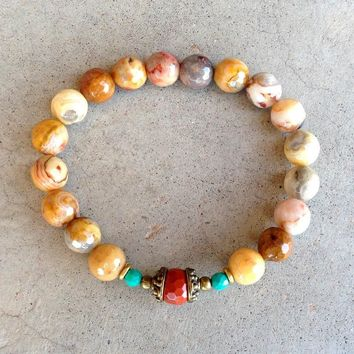 Joy and Grounding, Crazy Lace Agate and Red Jasper Bracelet