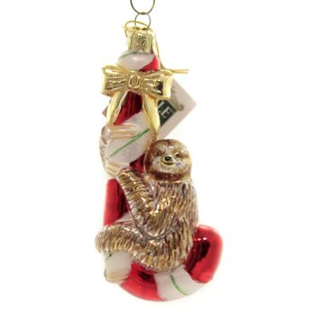 Noble Gems SLOTH ON CANDY CANE Glass Ornament Animal Christmas Nb1441