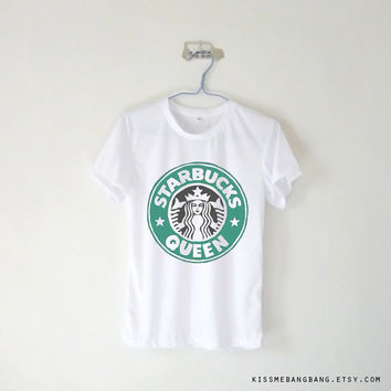 Starbucks Queen Tshirt / Starbuck Logo / White Grey Blue Pink Yellow / Tumblr Inspired / Plus Size/ Toddler, Kid size