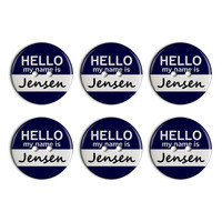 Jensen Hello My Name Is Plastic Resin Button Set of 6