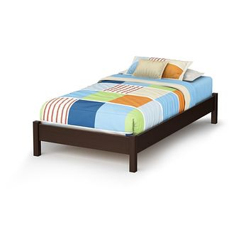 Twin Size Modern Platform Bed Frame in Chocolate Brown Finish